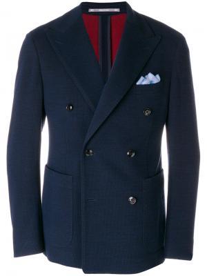 Двубортный пиджак Cantarelli. Цвет: синий
