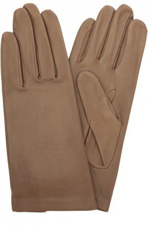 Кожаные перчатки с подкладкой из шелка Agnelle. Цвет: бежевый