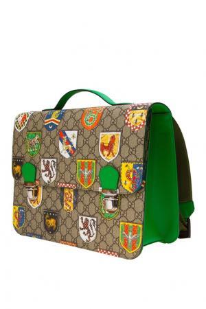 Портфель с гербами Gucci Children. Цвет: бежевый