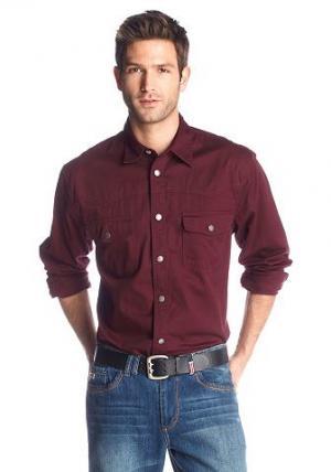 Джинсовая рубашка, Arizona. Цвет: бордовый