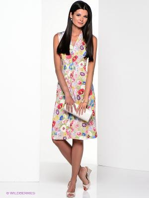 Платье Yulia Dushina. Цвет: бежевый, красный, зеленый, сиреневый