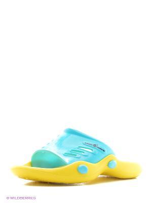 Женские тапки STANDART II Mad Wave. Цвет: бирюзовый, желтый