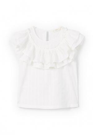 Блуза Mango Kids. Цвет: белый
