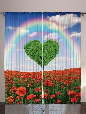 Комплект фотоштор Цветущие деревья и луга, красные цветы, радуга, воздушные шары, лавочка в парке, Magic Lady. Цвет: красный, зеленый, голубой