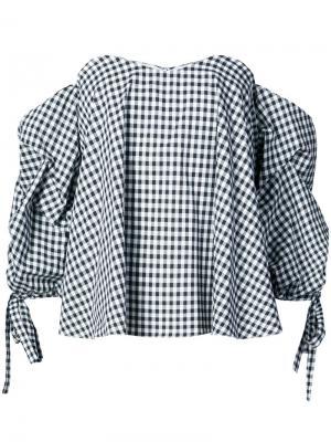 Блузка в клетку с открытыми плечами Caroline Constas. Цвет: чёрный