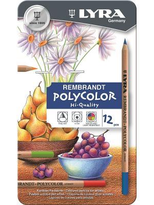 REMBRANDT POLYCOLOR Художественные цветные карандаши, 12 цв в метал коробке Lyra. Цвет: коричневый, желтый, серый