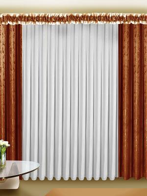 Комплект штор ZLATA KORUNKA. Цвет: коричневый, белый