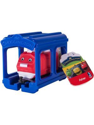 Набор Паровозик Ашер с гаражом Chuggington. Цвет: синий, красный