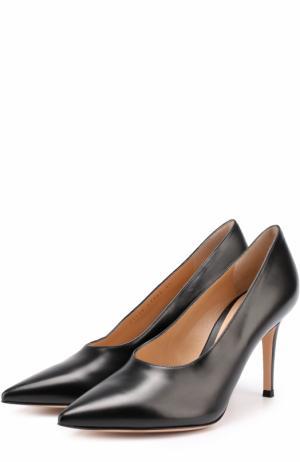 Кожаные туфли с неглубоким вырезом на шпильке Gianvito Rossi. Цвет: черный