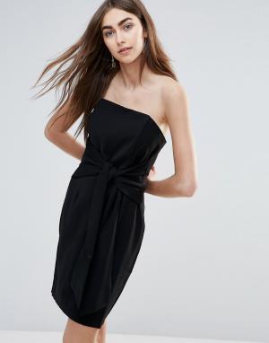 Adelyn Rae Облегающее платье с завязкой спереди. Цвет: черный