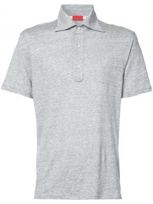 Рубашка-поло узкого кроя Isaia. Цвет: серый