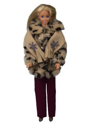 Комплект для куклы 29 см: полушубок, брюки и шарфик Модница.. Цвет: бежевый