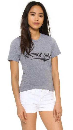 Футболка Summer Girls Barber. Цвет: голубой