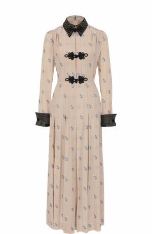 Приталенное шелковое платье-рубашка Alessandra Rich. Цвет: бежевый