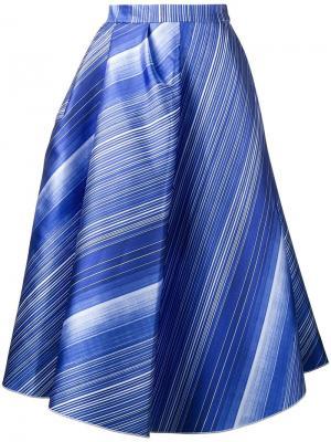 Полосатая юбка А-образного силуэта Vika Gazinskaya. Цвет: синий