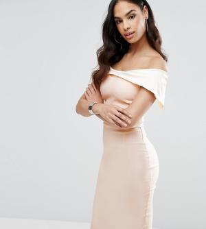 Vesper Платье-футляр колор блок с открытыми плечами. Цвет: мульти