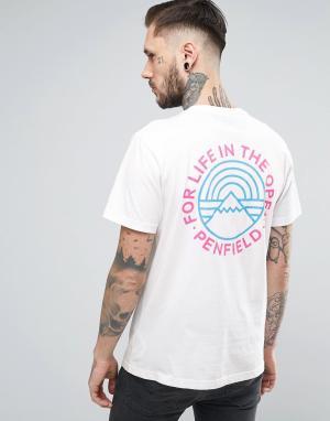 Penfield Белая футболка с принтом на спине Emblem. Цвет: белый
