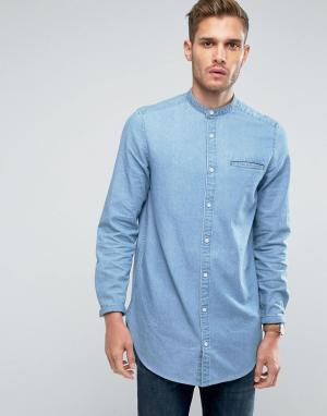 ASOS Длинная выбеленная джинсовая рубашка с воротником на пуговице. Цвет: синий