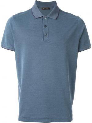 Классическая футболка-поло Loro Piana. Цвет: синий