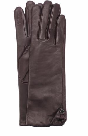 Кожаные перчатки с подкладкой из шерсти Agnelle. Цвет: темно-фиолетовый