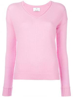 Джемпер с V-образным вырезом Allude. Цвет: розовый и фиолетовый