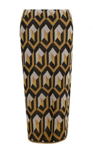 Вязаная юбка-миди с металлизированной нитью Dries Van Noten. Цвет: желтый