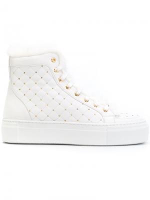 Стеганые ботинки на шнуровке Le Silla. Цвет: белый