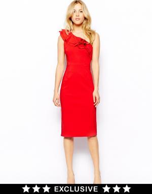 Платье на одно плечо с оборками Tempest. Цвет: красный