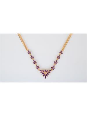 Колье Аметист Lotus Jewelry. Цвет: золотистый, фиолетовый