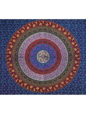 Покрывало декоративное набивное ETHNIC CHIC. Цвет: синий, оранжевый, светло-коралловый