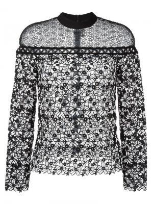 Кружевная блузка с цветочным узором Self-Portrait. Цвет: белый