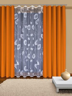 Комплект штор Haft. Цвет: белый, оранжевый