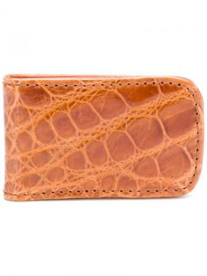 Зажим для денег с эффектом крокодиловой кожи Jason Briggs. Цвет: коричневый