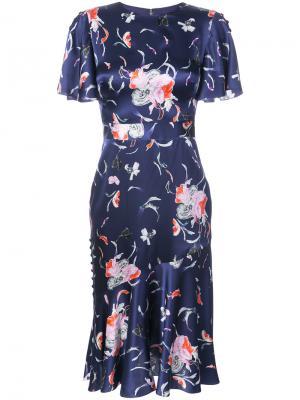 Платье с цветочным принтом Prabal Gurung. Цвет: синий