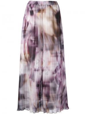 Широкие брюки с абстрактным принтом Ermanno Gallamini. Цвет: розовый и фиолетовый