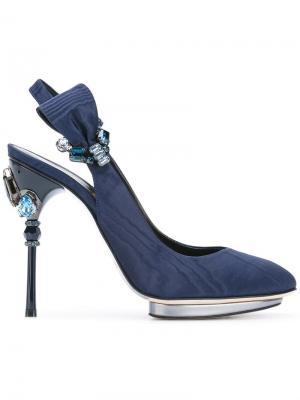 Декорированные туфли-лодочки с открытой пяткой Oscar de la Renta. Цвет: синий