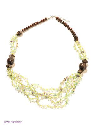 Колье Migura. Цвет: светло-зеленый, серебристый, темно-коричневый