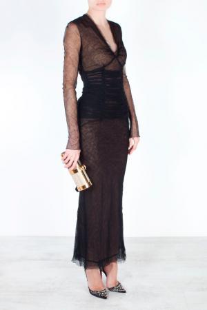 Шерстяное платье Alessandra Rich. Цвет: черный