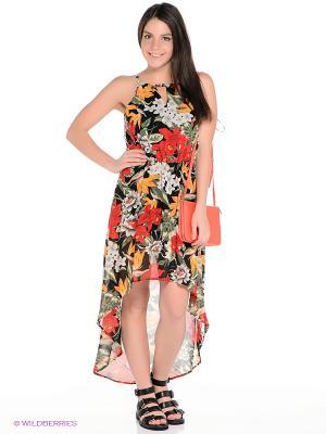 Платье Oodji. Цвет: черный, зеленый, красный