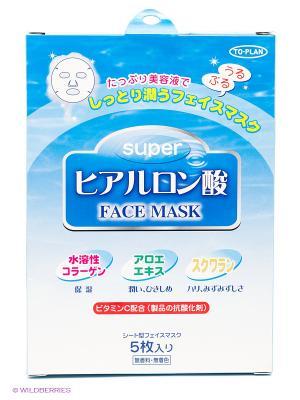 Маска для лица с гиалуроновой кислотой, 3шт. TO-PLAN. Цвет: белый
