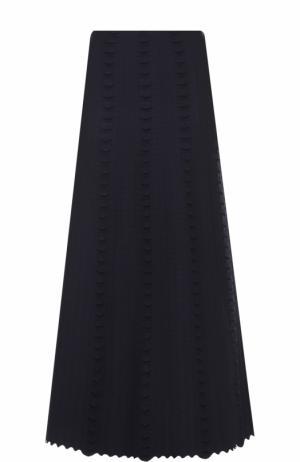 Шерстяная юбка-миди с фактурной отделкой Alaia. Цвет: темно-синий