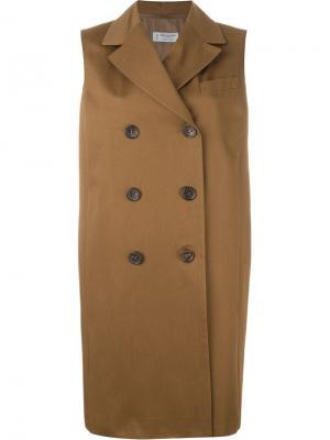 Двубортное пальто без рукавов Alberto Biani. Цвет: коричневый