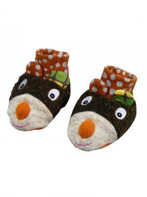 Ботиночки мягкие Мишка Ebulobo. Цвет: темно-коричневый