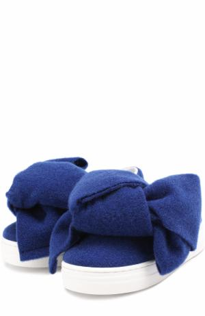 Текстильные слипоны с бантом Joshua Sanders. Цвет: синий