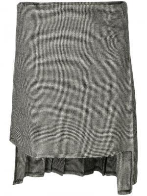 Асимметричная плиссированная юбка R13. Цвет: чёрный