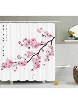Фотоштора для ванной Японский цветок, птицы на венке, розовый букет, бабочки цветущей ветке, 18 Magic Lady. Цвет: белый, розовый, черный