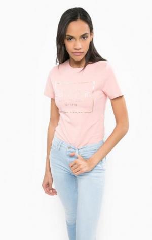 Розовая футболка с принтом Calvin Klein Jeans. Цвет: розовый