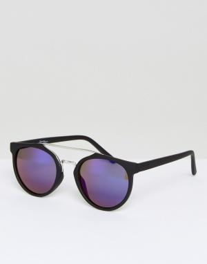 Jeepers Peepers Черные круглые солнцезащитные очки с синими стеклами. Цвет: черный