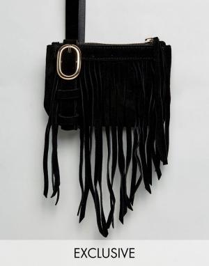 Reclaimed Vintage Сумка-кошелек на пояс с бахромой Inspired. Цвет: черный