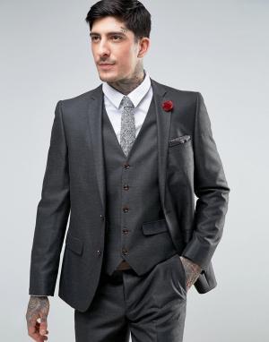 Harry Brown Узкий саржевый пиджак. Цвет: серый